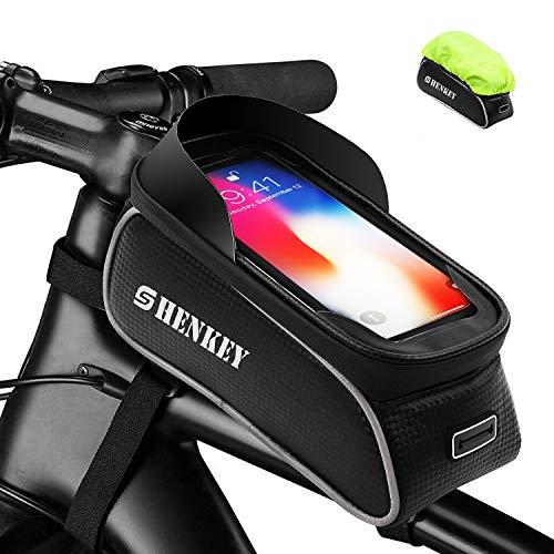 shenkey Borsa Telaio Bici,Borsa da Bicicletta Impermeabile Touch Screen Bicicletta Manubrio Anteriore Borsa Telefono Bici con Parasole per sotto 6.0'Telefon