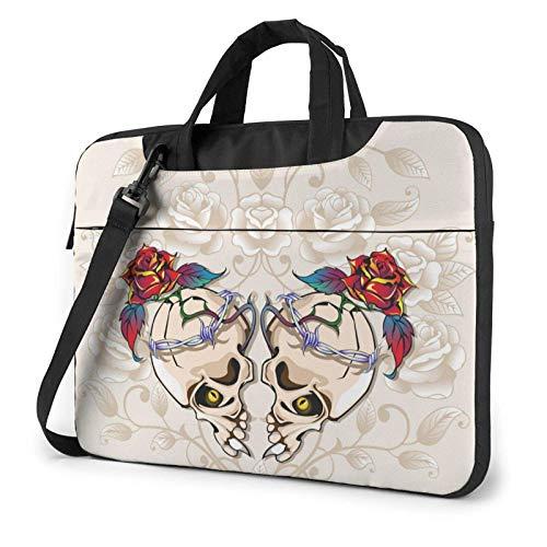 Bolso para portátil Vintage Skull and Rose Bolso Bandolera para portátil 15,6 Pulgadas Funda para Ordenador portátil Estuche para Transporte Maletín
