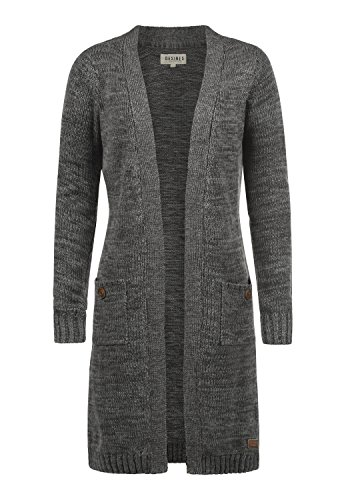 DESIRES Philetta Damen Lange Strickjacke Cardigan Grobstrick Winter Longstrickjacke, Größe:XL, Farbe:Dark Grey (2890)