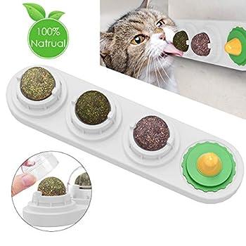 Ruqias Jouet de Cataire pour Chats Boules Comestibles de Cataire Léchage Rotatif Naturel Traite des Jouets pour Chats Chaton Chaton (Blanc)