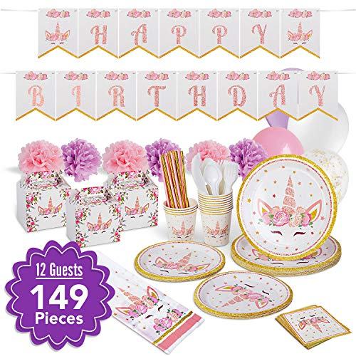 Pinky Butterflies Unicorn Birthday Party Supplies Decorations For A Whimsical Magical Unicorn Birthday Party - This Fashionable Unicorn Party Supplies For Girls Will Leave Long Lasting Memories - Comes With Cute Classy Goody Boxes - Unicorn Theme  Serves 12