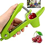 Cherry Pitter, Cherry Corer, Olive Seed Remover Tool, Fruit Pit Core Remover with Space-Saving Lock Design and Lengthened Splatter Shield for Cherries, Dates, Olives