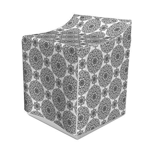 ABAKUHAUS Mandala Waschmaschienen und Trockner, Aufwändige Muster von Mandala mit symmetrischen Formen und Fliesen persischen Bild, Bezug Dekorativ aus Stoff, 70x75x100 cm, Schwarz