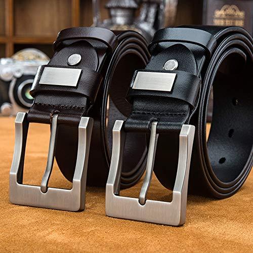 Riem voor heren Casual Pin Buckle Soft Lekker Belt Jeans Style Riem Zwart En Koffie Optioneel Zakelijke kansen, woon-werkverkeer (Color : Coffee, Size : 110 cm)