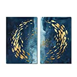 QIAOB Arte de la Pared, Abstracto Azul Marino Profundo lámina Dorada Peces Lienzo Pinturas Arte Carteles e Impresiones...