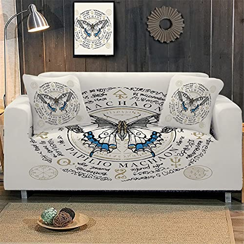 KORANGE Fundas Decorativas para Sofás Funda De Sofa Elastica Fundas De Sofa 1/2/3/4 Plazas Microfibra Animal Print Mariposa 3D (Color : Butterfly Beige, Size : 1 Seater)