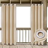 Clothink Outdoor Vorhang - B:132xH:215cm Beige - mit Ösen Oben und Unten - Winddicht Wasserabweisend Sichtschutz Sonnenschutz