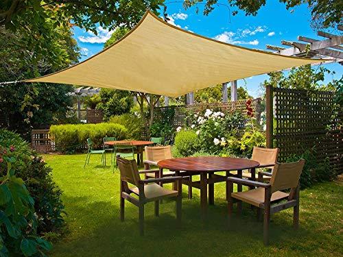 Sunnylaxx Rechteck 2.5x3m Sonnensegel Sonnenschutz Garten, UV-Schutz wetterbeständig HDPE Segel, Sand