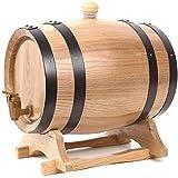 YAOSHUYANG Barril de Madera, Barril de Vino Envejecido de Madera de Roble de 5L Vintage con Toque Whisky Wine Beer Beer Spirits Puerto, Cerveza, Sidra (Color : Natural Color, Size : 5L)
