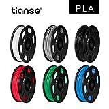 TIANSE 6 colores PLA Filament 1.75 mm, PLA Filamento de Impresora 3D,...
