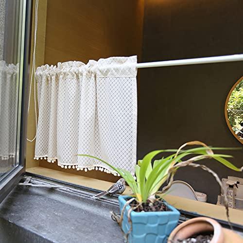 YXW Mantovana per Tende da Cucina con Nappe a Sfera per Capelli, Tende Corte per Bar da Bagno, Mezze Tende in Tulle, Beige, 1 Pezzo (130 × 40 cm / 130 × 100 cm)