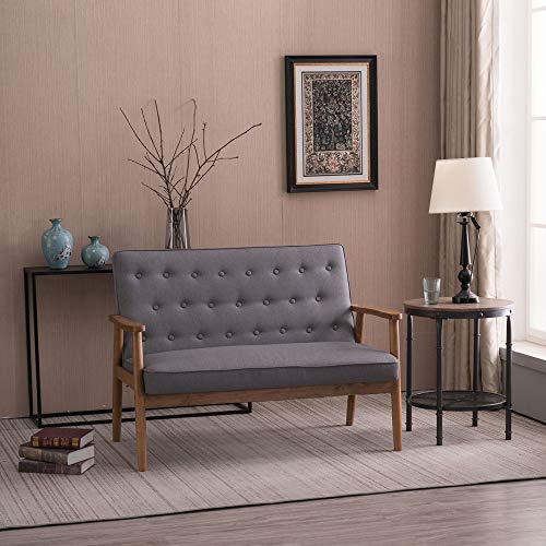 Bonnlo Mid-Century Sofa Couch for 2,Wooden Loveseat Sofa Modern Upholstered Loveseat Sofa Living Room 2-Seater Lounge Accent Chair, Fabric Grey
