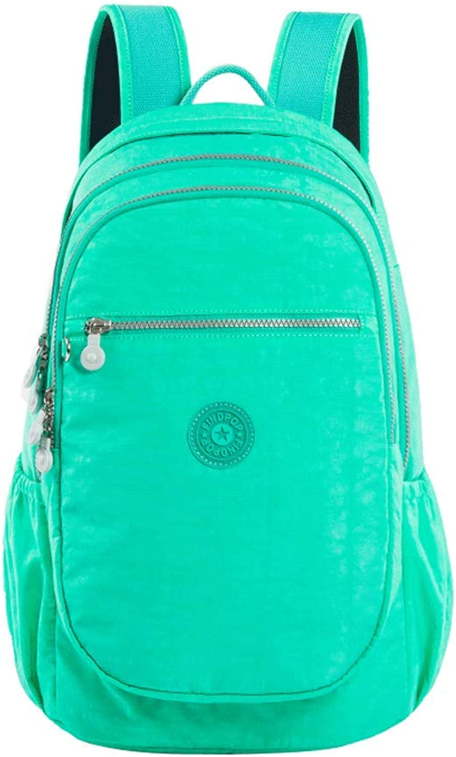 SLH Green Backpack Female Casual Waterproof Computer Bag Male Travel Backpack Nylon Backpack Student Bag (color   Green, Size   L-28  20  41cm)