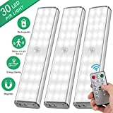 LED Closet Light Motion Activated - 30 LED Under Cabinet Lights Rechargeable with Remote Control,Stick-on Anywhere Wireless Motion Sensor Lights for Hallway Cabinet Stairway Wardrobe Kitchen (3 Pack)