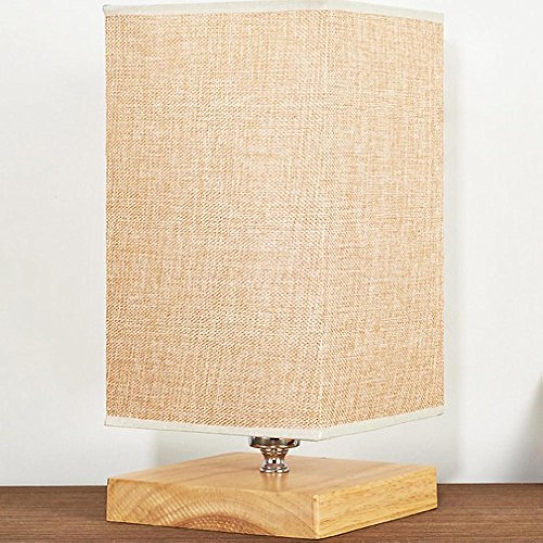 GRFH Holz Leinen Stoff Schatten Tischlampe