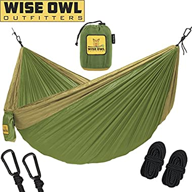 Wise Owl Outfitters Hammock for Camping Single & Double Hammocks - Top Rated Best Quality Gear For The Outdoors Backpacking Survival or Travel - Portable Lightweight Parachute Nylon DO Green & Khaki