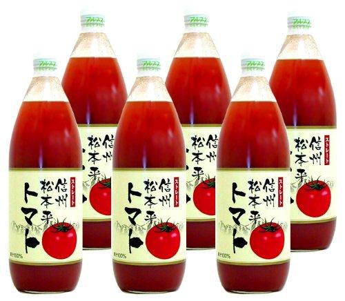 アルプス 100%ストレート 信州 松本平 トマトジュース 1000ml ×6本 セット