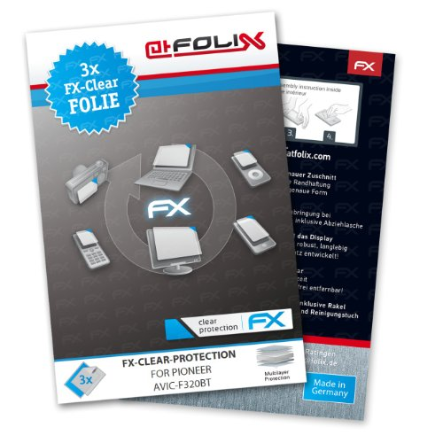 atFoliX Schutzfolie kompatibel mit Pioneer Avic-F320BT Folie, ultraklare FX Bildschirmschutzfolie (3X)