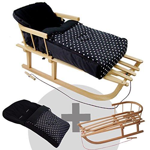 Rawstyle *Kombi-Paket* Holz-Schlitten mit Rückenlehne & Zugseil + universaler Winterfußsack (108cm) Fleece, auch geeignet für Babyschale, Kinderwagen, Buggy (Schwarz + Punkte Weiß)