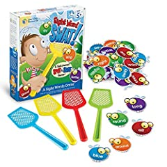 EDUCATIONAL & ENGAGING: Build reading, spelling and vocabulary skills through playful competition with up to 4 players. The element of speed promotes confidence and fluency in reading. GAMES FOR ELEMENTARY SCHOOL KIDS: The sight-word flies are color-...