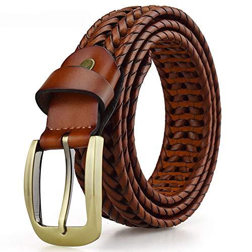 Grww ofd Herren-Gürtel Leder geflochten von Herren ledergürtel aus Echt Leder mit Metall Dornschließe,A,105CM