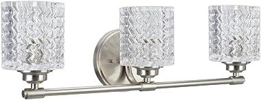 "Aspen Creative 62058, Three-Light Metal Bathroom Vanity Wall Light Fixture, 24"" Wide, Transitional Design in Brushed Nick"