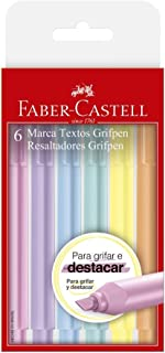 Caneta Marca Texto, Faber-Castell, Grifpen, 6 Cores, Tons Pastel
