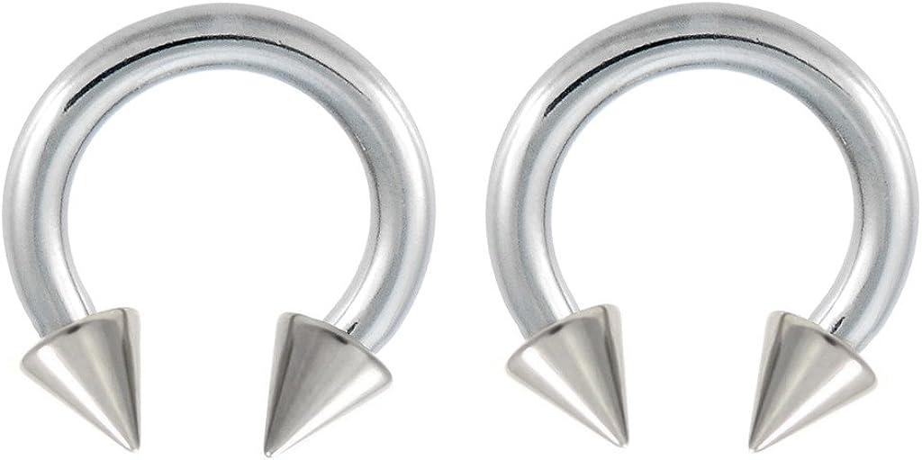 playful piercings Pair of (10, 8g, 6g, 4g or 2g) Spike Hypoallergenic Surgical Steel Horseshoe Ring Lip, Belly, Nipple, Cartilage, Tragus, Septum, Earring Hoop