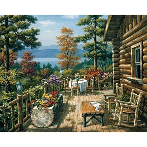 xcxbxb Digitale Malerei DIY Balkon Tisch Landschaft Wandkunst Bild Hochzeitsdekoration Acrylmalerei Rahmenlos 40X50CM