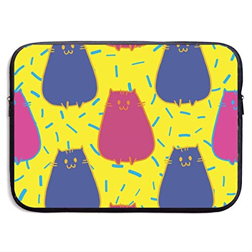Ahdyr Pink Cat Blue Cat Painting,Water Resistant Laptop Bag,Zipper Tablet Bag,15 inch Laptop Sleeve Bag