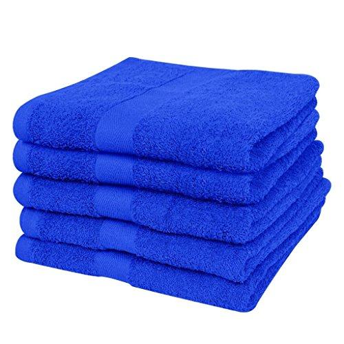 SENLUOWX thuis badhanddoek 100% katoen 500g / m2 100x150cm koningsblauw 5 st. Handdoeken machinewasbaar