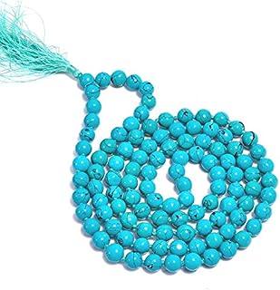 "Zoya Gems & Jewellery Tibetan Turquoise Gemstone Round Smooth Jap Mala 8 mm 32"", Yoga Meditation Beads,Tassel Mala Bead,Yo..."