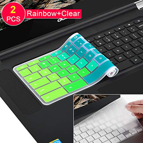[2 Pack]Keyboard Cover Skin compatible Acer chromebook R11 11.6 inch CB3-131 CB3-132,CB5-132T,CB3-131,Chromebook R 13 keyboard cover, CB5-312T,Chromebook 15,CB3-531 CB3-532 CB5-571 C910,Rainbow+clear
