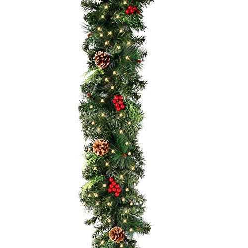 FullLove Ghirlanda Natalizia per Porta Decorativa con 30 LED Luce,Adatto Come Camino per Scale O Decorazione di Porte [Classe di efficienza energetica A] (1.8 m)