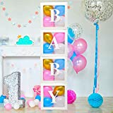 Baby Clear Boxes 4 pcs 12' by Serene Selection, 40 Balloons Included, for Boy or Girl BabyShower, Gender Reveal Party Supplies, Blocks with Letters for Baby Shower, Backdrop Block Party Decorations