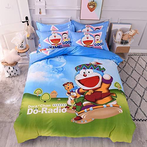 yaonuli Baumwolle Cartoon Anime vierteilige Baumwolle Matratze Kinder Abenteuer mehr 1,5 Meter Bettbezug 200x230 Blatt 250x250