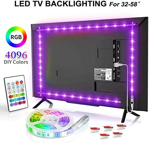 Preisvergleich Produktbild BASON Led TV Hintergrundbeleuchtung,  6.56ft / 2m USB LED Streifen RGB,  DIY 4096 Farben Led Strip mit 24 Tasten Fernbedienung,  Led Beleuchtung für 32-58 Zoll TV / Wandhalterung Cinema Dekoration