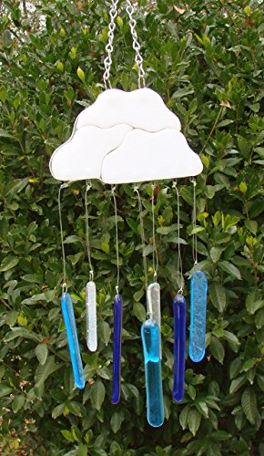 Clouds with Rain Drops Handmade Fused Glass Small Wind Chime Mobile