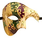 Luxury Mask Men's Phantom Of The Opera Half Face Masquerade Mask Vintage Design, Purple/Green/Gold/Mardi Gras, One Size