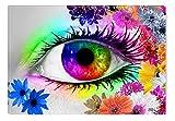 Startonight Cuadro sobre Vidrio Los Colores del Ojo III de Diana, Impresion en Calidad Fotografica Pintura Listo Para Colgar Diseño Moderno Decoración Formato Grande 60 x 90 CM