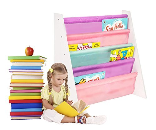 FiNeWaY@ CHILDREN'S BOOK STORAGE SLING SHELVES FOR 3+ YEARS (PINKS/LILACS)