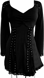 Dare to Wear Electra Corset Top: Gothic Punk Rock Steampunk Women's Tunic Shirt for Everyday Halloween Cosplay Concerts