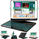 iPad Keyboard Case 9.7 for iPad 6th Gen 2018 - iPad 5th Gen 2017 - iPad Pro 9.7 - Air 2/ Air 1, 360 Rotate 7 Color Backlit Wireless iPad 9.7 inch Case with Keyboard, Auto Sleep Wake