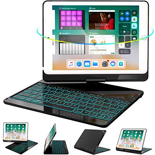 GreenLaw iPad Keyboard Case 9.7 for iPad 6th Gen 2018 - iPad 5th Gen 2017 - iPad Pro 9.7 - Air 2  Air 1, 360 Rotate 7 Color Backlit Wireless iPad 9.7 inch Case with Keyboard, Auto Sleep Wake,Black