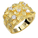 Harlembling Solid 925 Sterling Silver Men's Silver Ring - Nugget Ring - Pinky or Ring Finger Iced Flooded Out Men's Ring - 14k Yellow Gold Finish - Sizes 7-13 (13)