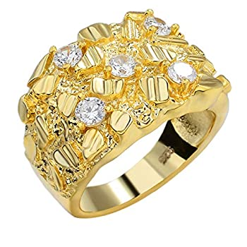 Harlembling Solid 925 Sterling Silver Men s Silver Ring - Nugget Ring - Pinky or Ring Finger Iced Flooded Out Men s Ring - 14k Yellow Gold Finish - Sizes 7-13  10