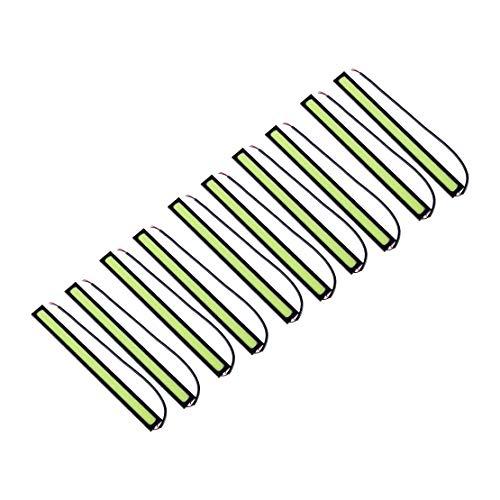 beler 10Pcs Car COB Green LED DRL Daytime Running Light Lamp Bar Strips 12V Waterproof