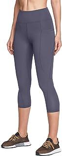 ATIKA Women's Mid/High Waist Yoga Capri Pants with Pockets, 4 Way Stretch Tummy Control Capri Leggings Tights