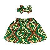 Moneycom Enfant Bébé Fille en Bas âge Jupe Africaine Bandeau Dashiki Imprimer Vêtements Set Jupe de Impression de Style Ethnique, Costume de Bande de Cheveux Vert(6-12 Mois)