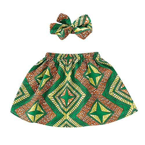 Tonsee Enfant en Bas âge Enfants bébé Fille Jupe Africaine Bandeau Dashiki Imprimer Vêtements Set Brillant Africain Couleur Enfant Dashiki Robe